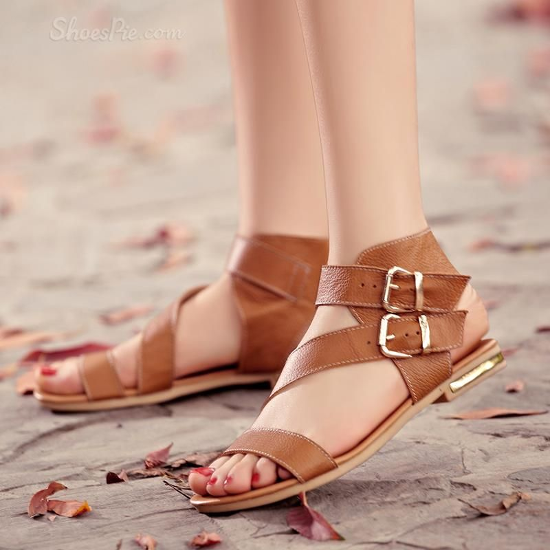 sensationaly hot Shoespie Summer Buckle Ankle Wrap Flat Sandals