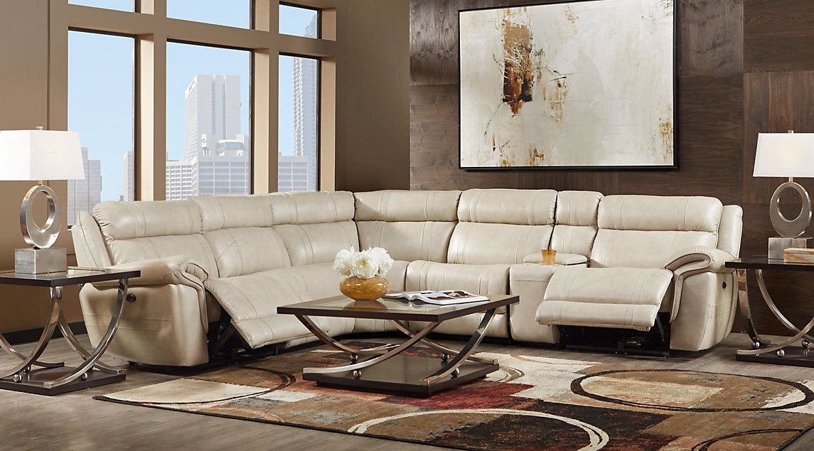 Brilliant This Martino Beige 6 Pc Leather Power Reclining Sectional Is Gmtry Best Dining Table And Chair Ideas Images Gmtryco