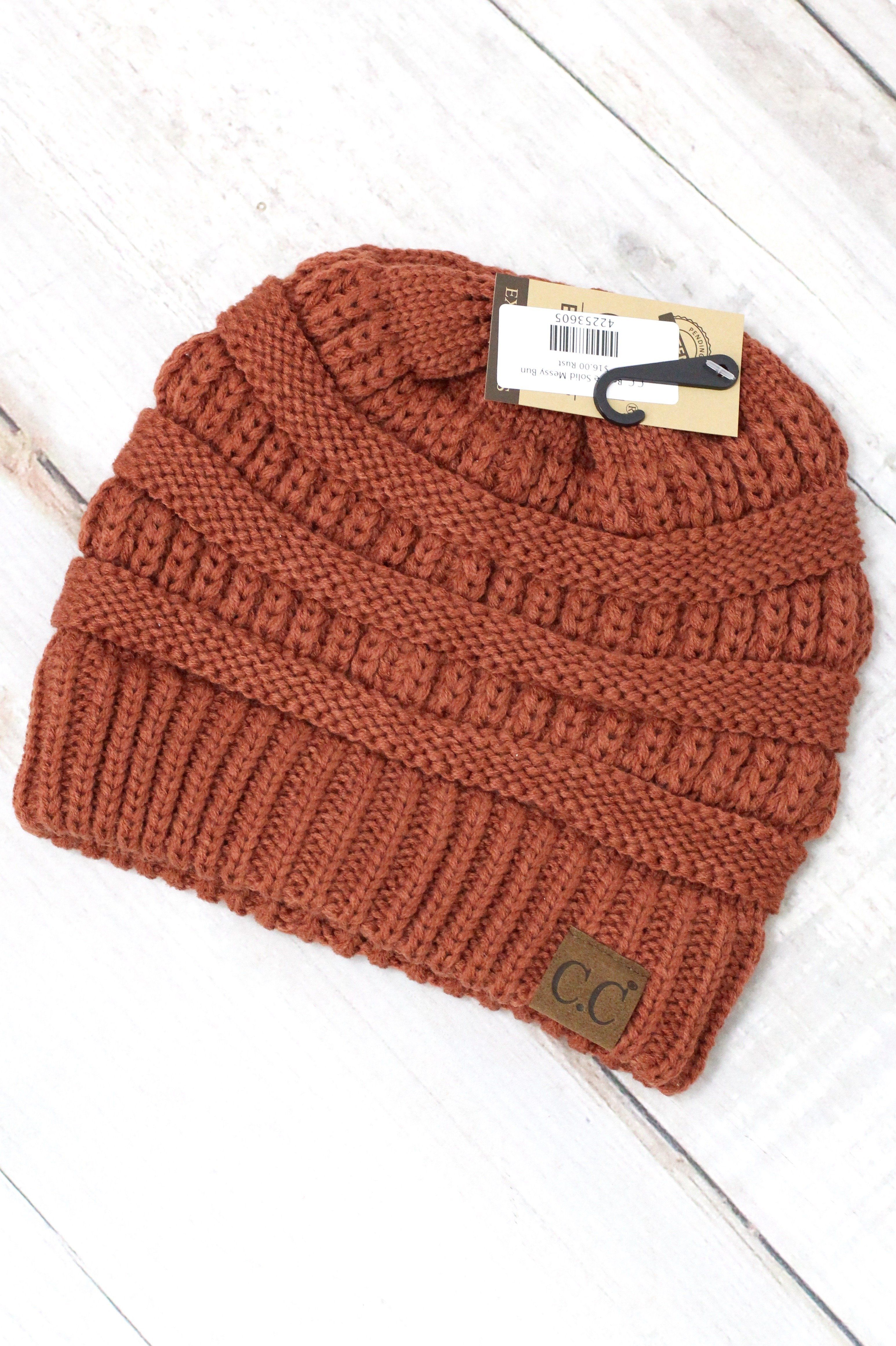 831724cbec2 Original CC beanie. Features messy bun hole in the top. Wear with a  ponytail or messy bun sticking out