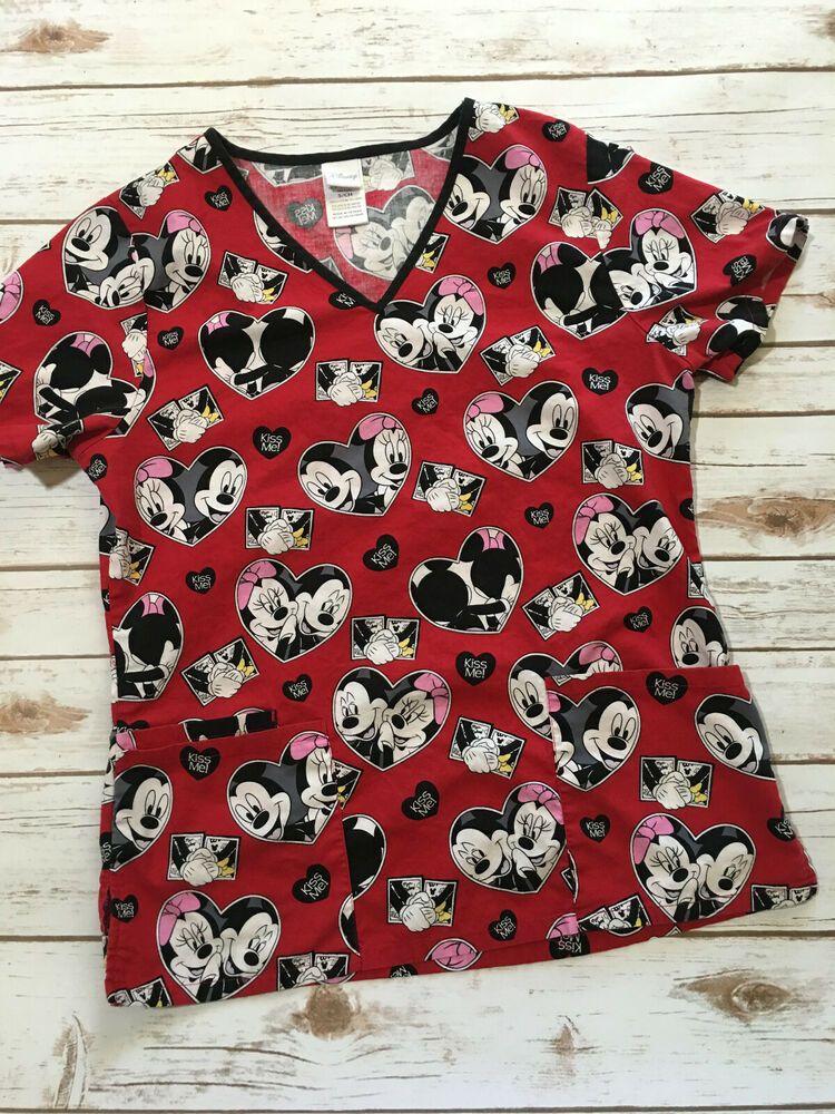 fffb3b327 Disney Red Mickey Minnie Mouse Kiss Me Hearts~ Scrub Top~Sz SMALL  Disney