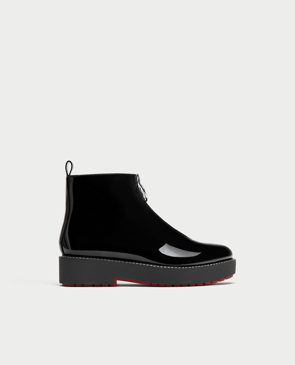 reasonable price reasonable price best value Image 2 of FLAT FAUX PATENT ANKLE BOOTS WITH TAB from Zara | Boots ...