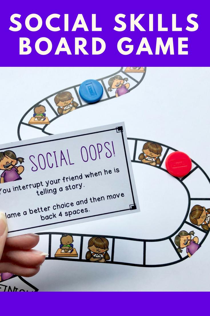 Social Skills Board Game Elementary Counseling Social Skills