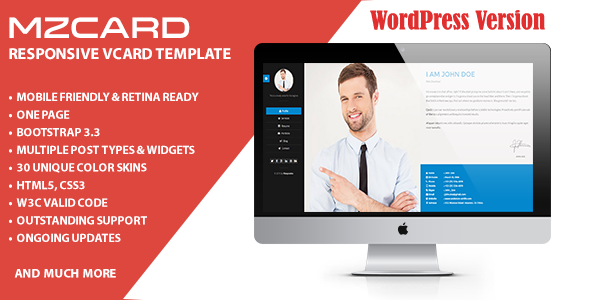 MilZinCard WordPress Responsive vCard Theme | Wordpress, Template ...