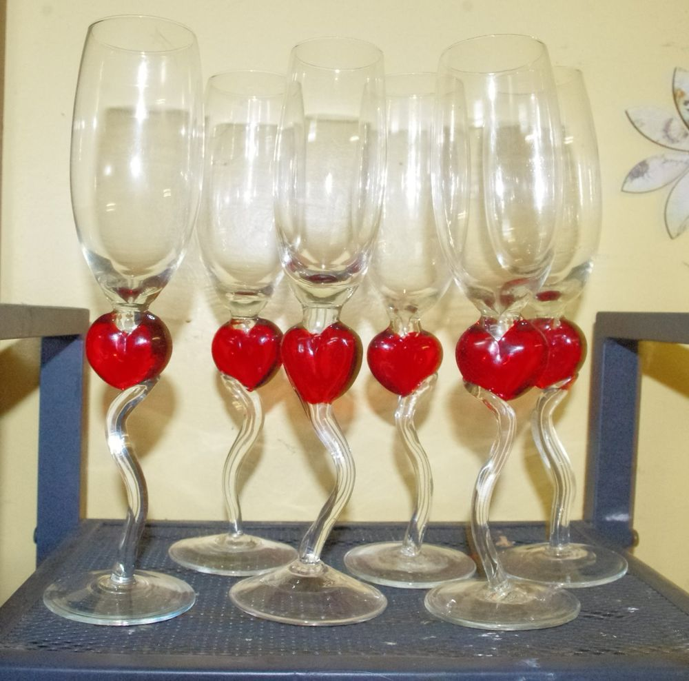 Six Red Heart Stem Champagne Flutes By Burton And Burton Vintage Stemware Champagne Flutes Champagne Glasses