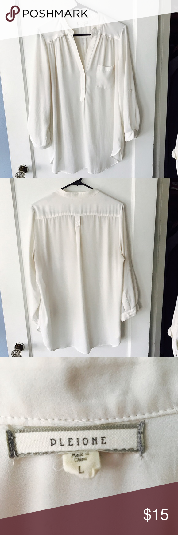 Pleione White Tunic White Tunic featuring button details and 3/4 length adjustable sleeves. Perfect with leggings or tucked into jeans or slacks for work. Slightly sheer, camisole underneath recommended Pleione Tops Blouses