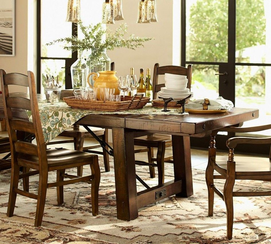 Tables chairs mahogany rectangle extending pottery barn kitchen table wynn ladderback chairs 2 drop in leaves wicker serving tray floral pattern table