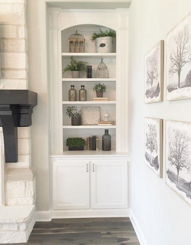 Living room shelves decorating ideas. Farmhouse living ...