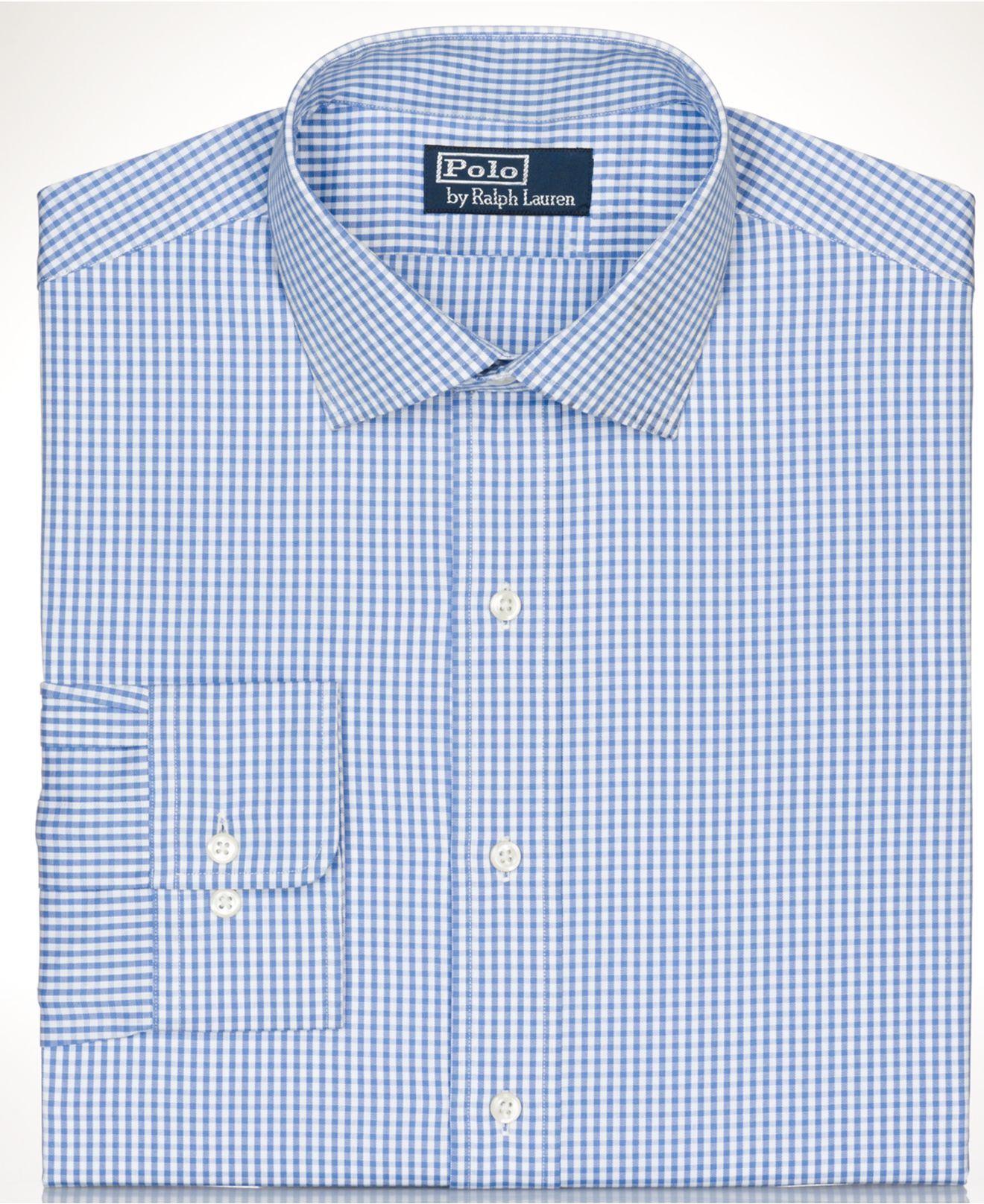Polo ralph lauren big and tall dress shirt blue gingham long sleeve