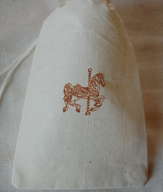 10 Circus / Carnival Carousel Horse - organic muslin cotton favor bags 4x6 - Choose your own ink color. $12.00, via Etsy.