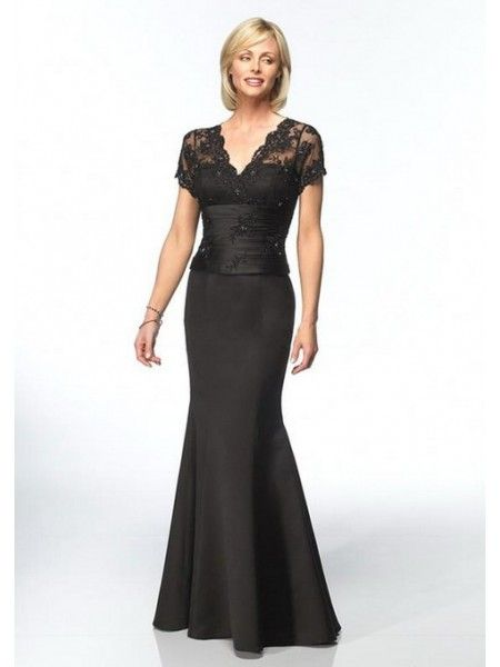 Principal Sponsors Classical Black V Neck Long Dress Entourage
