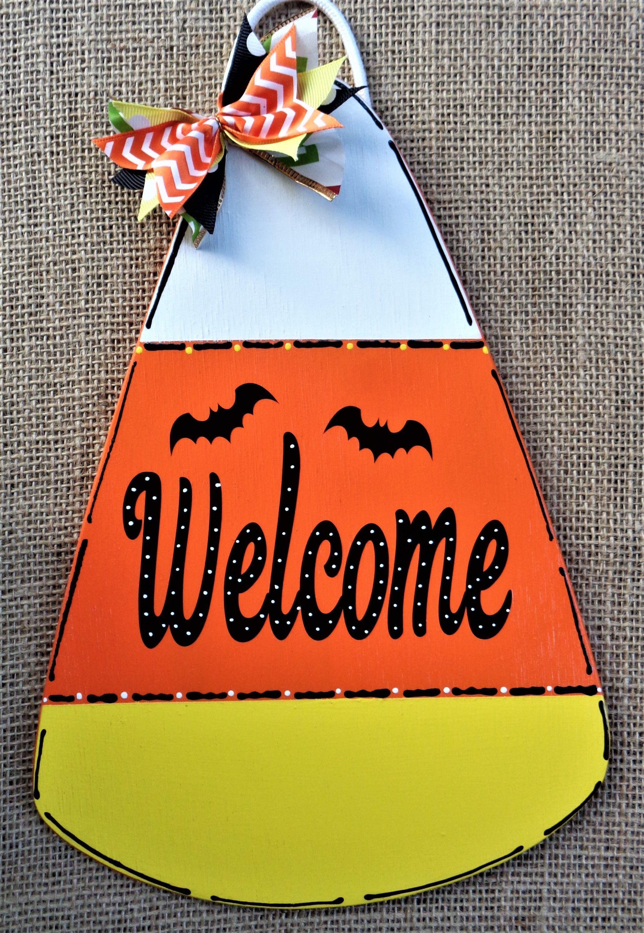 Halloween CANDY CORN SIGN Pumpkin Wall Art Door