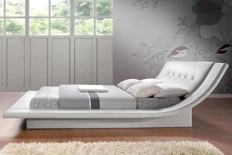 calyx modern bed with curved headboard - Modern King Bed Frame