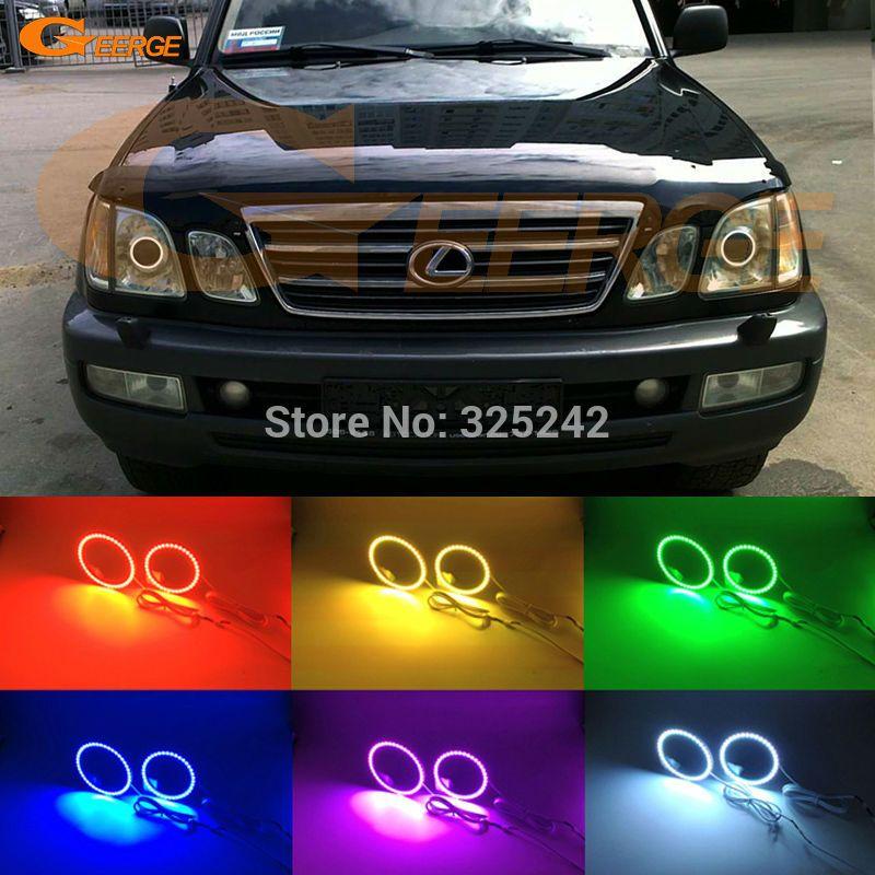 For Lexus Lx470 2003 2004 2005 2006 2007 Excellent Multi Color Ultra Bright Rgb Led Angel Eyes Kit Halo Rings Lexus Lx470 Car Lights Led Angel Eyes