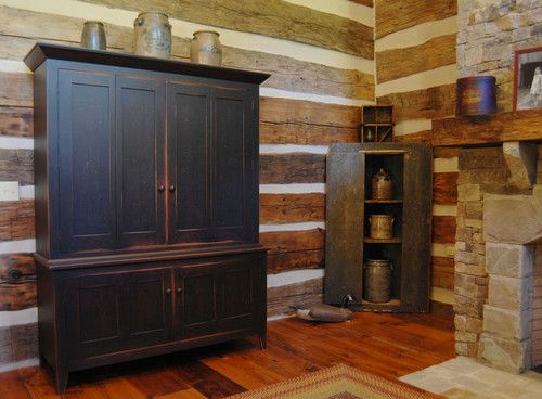 Central Kentucky Log Cabin Primitive Kitchen Eclectic Living Room