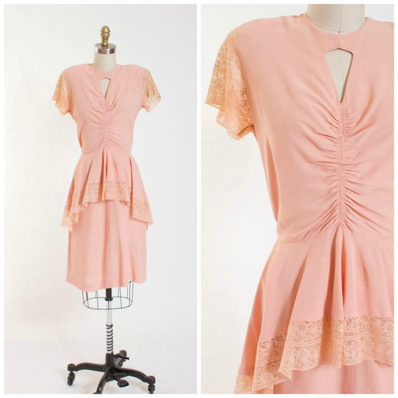 1940s Vintage Dress Blush Pink Rayon with Lace by stutterinmama