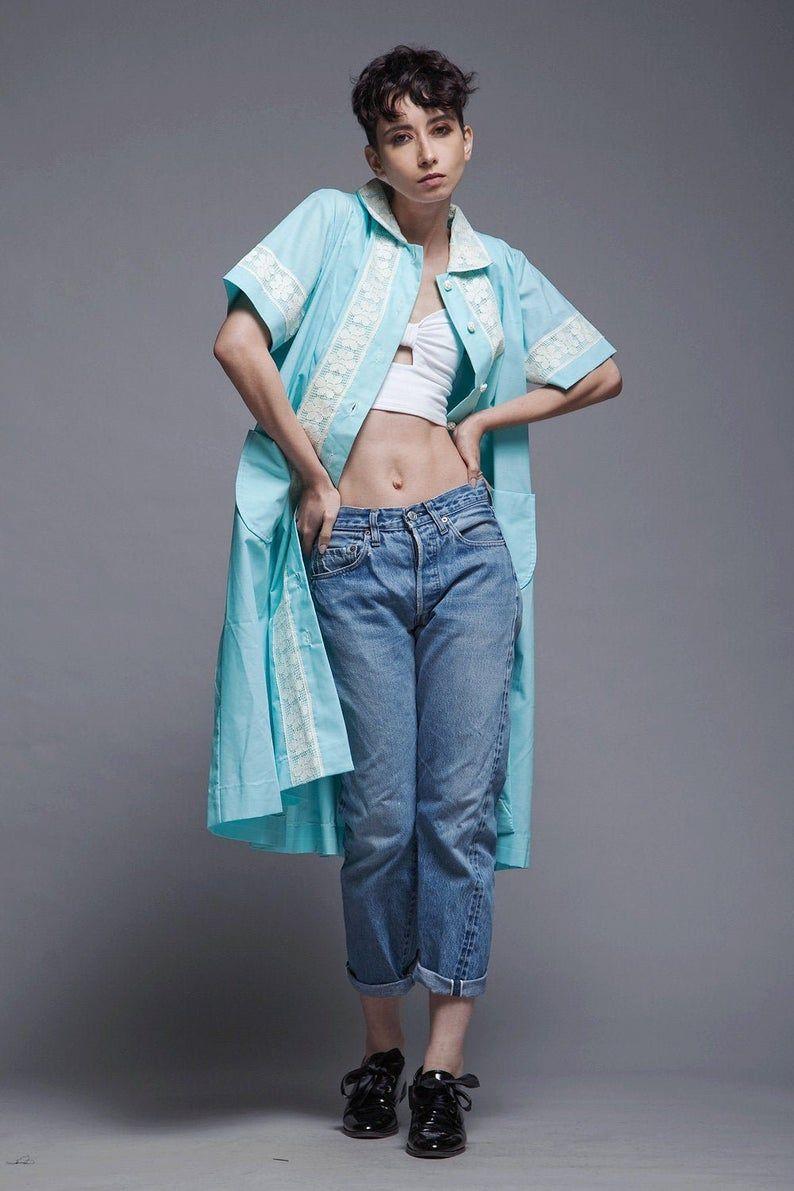 Spring House Coat Duster Dress Aqua Blue Green Floral Lace Short Sleeves Vintage 80s L Xl Large Extra Large In 2020 Vintage Clothing Online Duster Dress Vintage Outfits