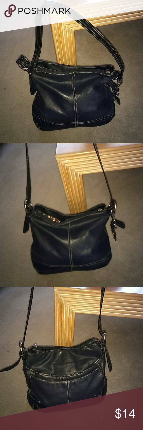 Tignanello Black Leather Shoulder Bag S M size black leather shoulder bag  by Tignanello. One zipper is missing the pull part 39c887e51fb6f