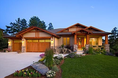 custom home exterior craftsman ranch