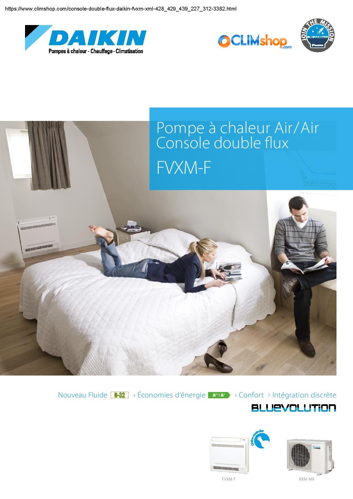 Documentation Console Double Flux Daikin R32 Fvxm25f Fvxm35f Fvxm50f Economies D Energie Pompe A Chaleur Chauffage Climatisation