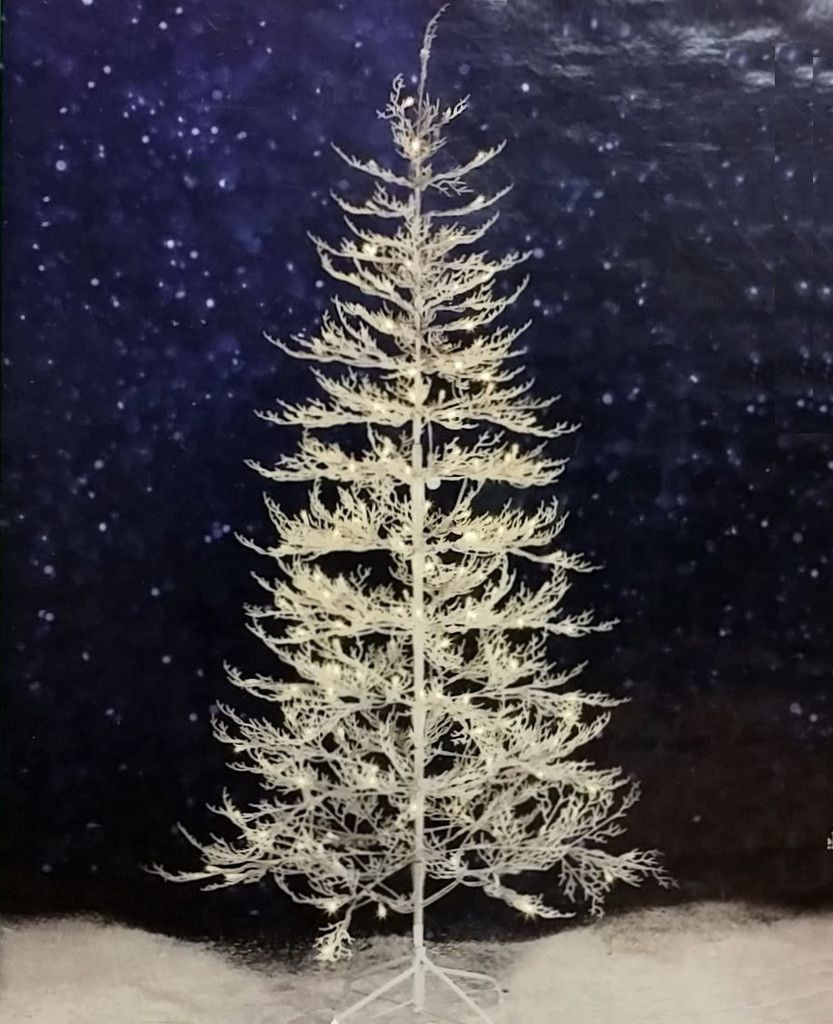 7 ft Winter White Twig Tree with LED Lights: Indoor/Outdoor Frosty Glitter  Pre