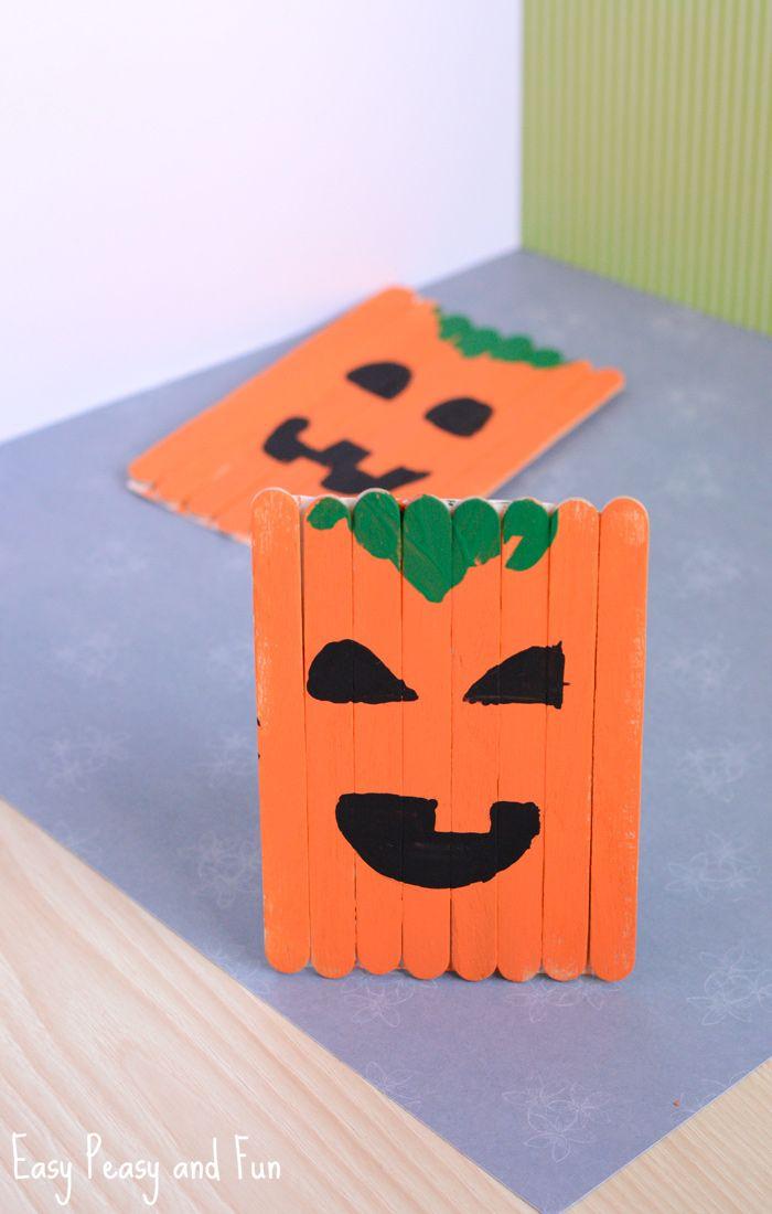 popsicle stick pumpkin craft halloween craft - Halloween Crafts Construction Paper