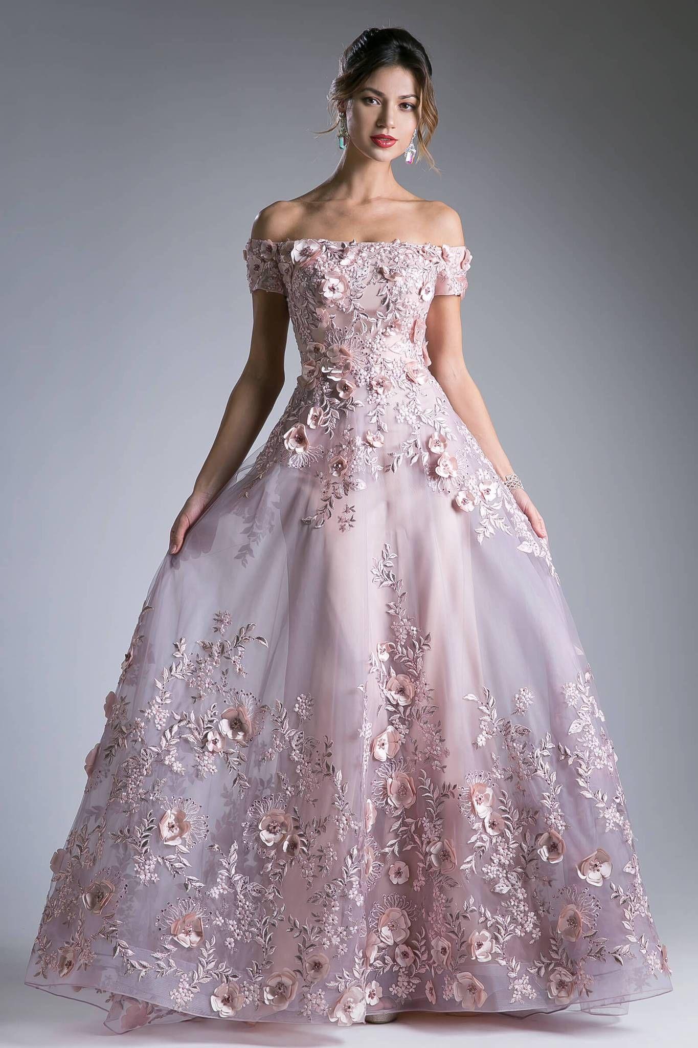 long prom gown formal evening dress - dusty rose / 4