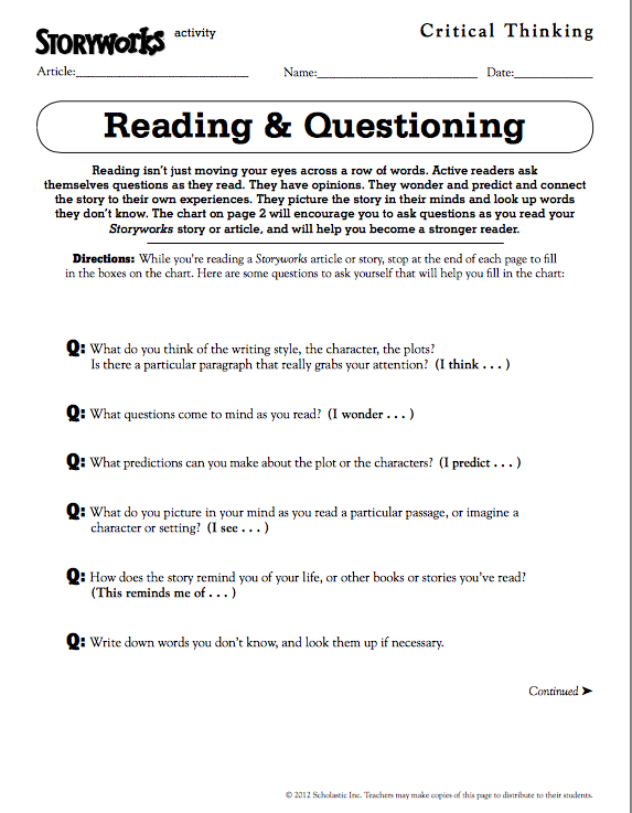 This Reading & Questioning activity sheet from #Storyworks ...
