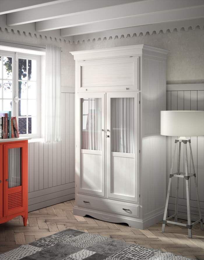 Armario fontana 2 puertas visillo con maletero blanco - Armario dormitorio blanco ...