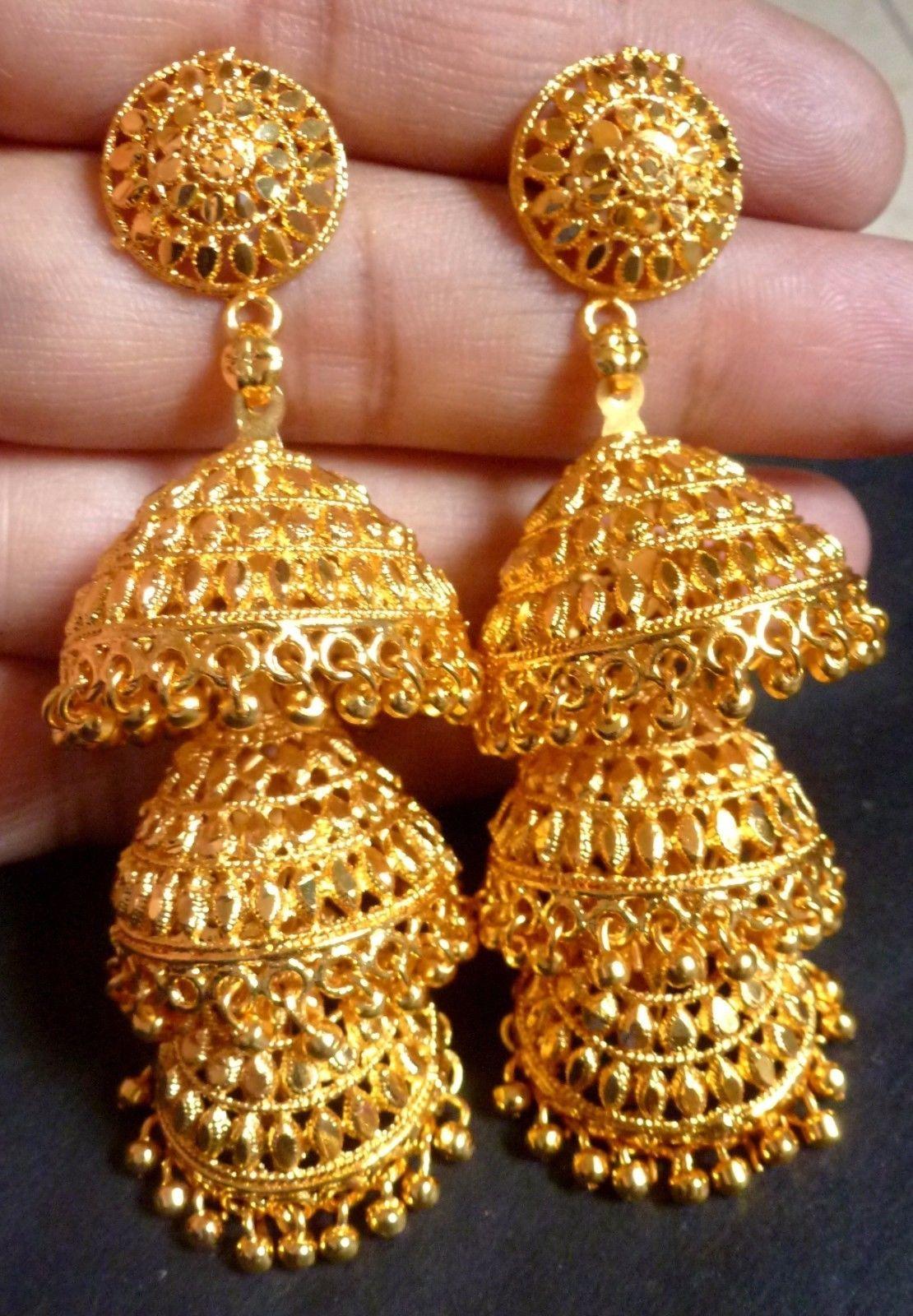 196c18acb $11.04 - 22K Gold Plated 3 Steps Indian Wedding Jhumka 3'' Long Wedding  Earrings #ebay #Fashion