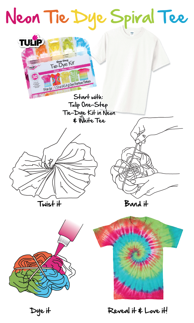 Easy Tie Dye Tips And Step By Step Instructions: How To Neon Tie Dye Spiral Tee