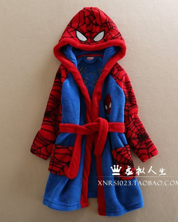 Spider-Man Boys Fleece Bathrobe Robe Toddler//Little Kid