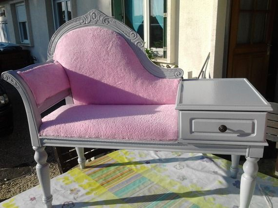 Banquette t l phone ancien totalement restaur relooking meubles mobilier de salon - Meuble ancien restaure ...