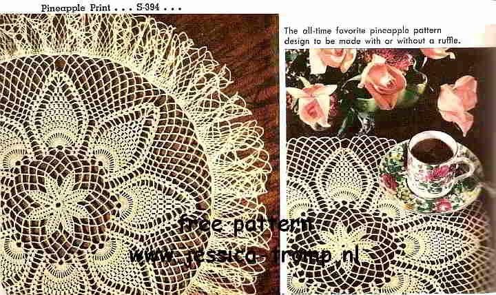 Pineapple Print doily free vintage crochet doilies patterns ...