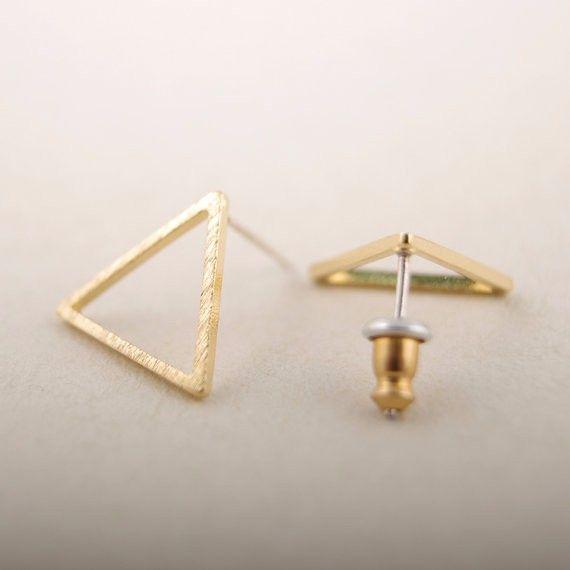 Yiustar 2017 새로운 패션 작은 기하학적 라인 삼각형 실버 귀걸이 간단한 귀여운 파티 스터드 귀걸이 ED008
