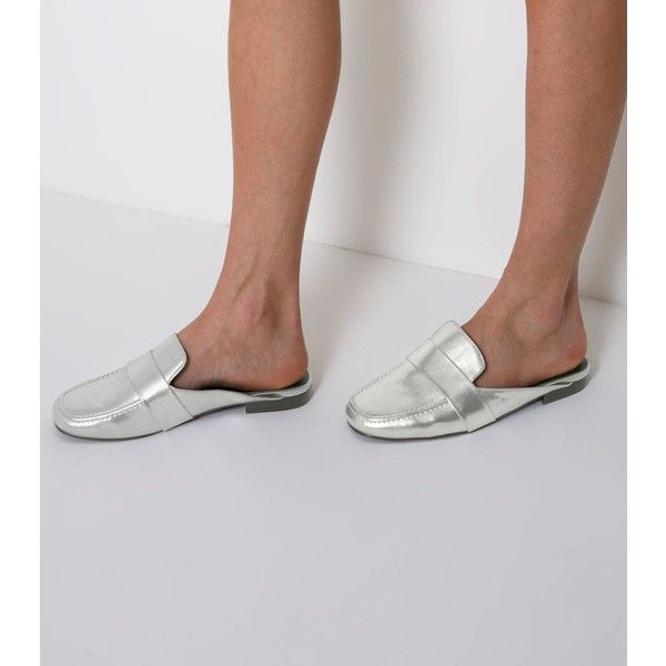 e32b9f0ded337 New Look Wide Fit Silver Metallic Mule Loafers ( 29) ❤ liked on Polyvore  featuring shoes