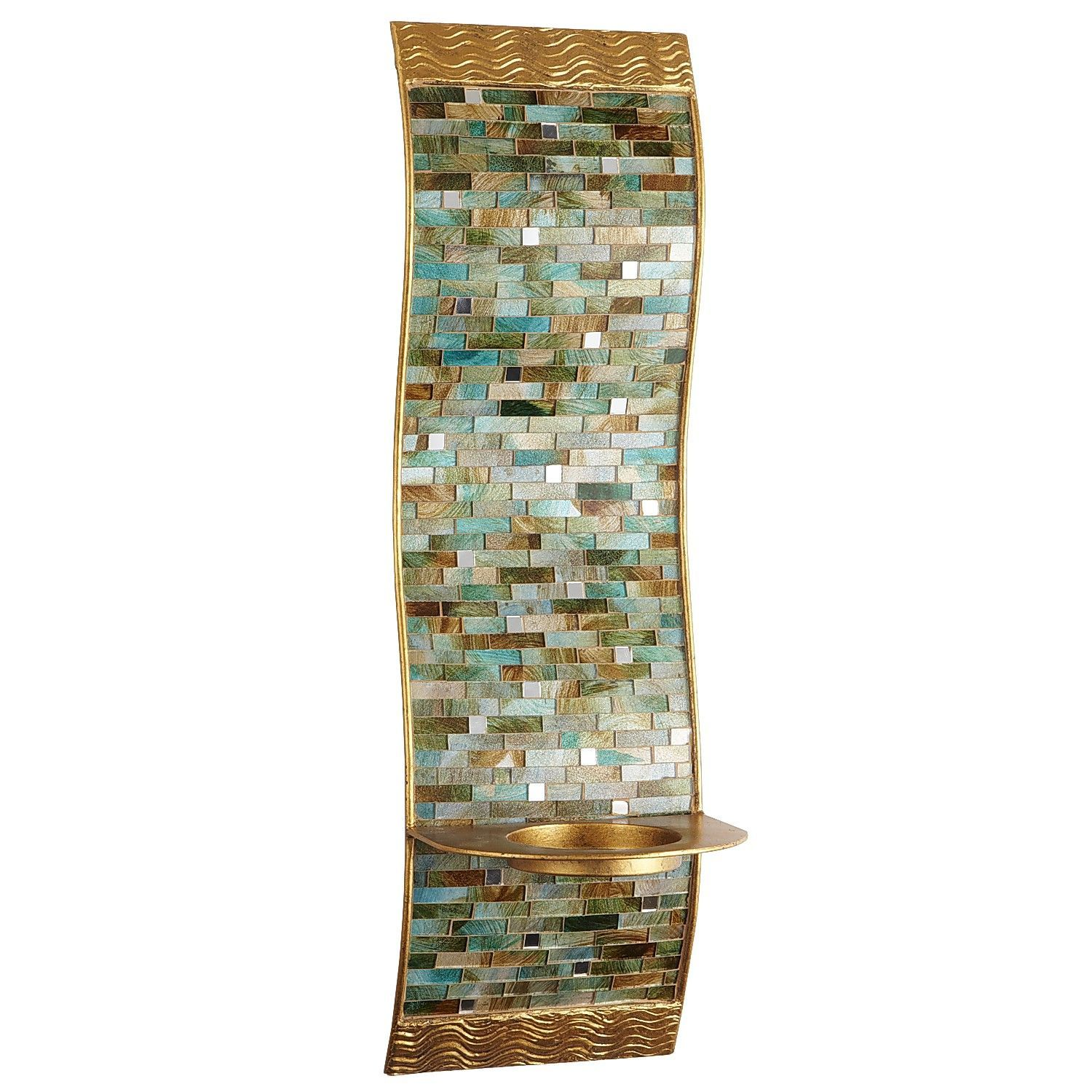 Mosaic Wave Pillar Candle Holder Wall Sconce