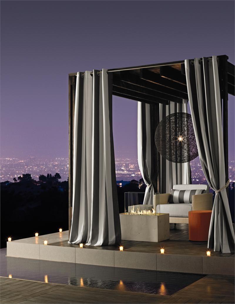Sunbrella Stripe Outdoor Curtain Panels In Various Colors