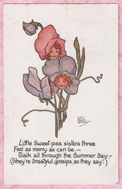 A/S HELEN GRACE MARSH LAMBERT Fantasy LITTLE SWEET PEA Flower Fairies Series PC