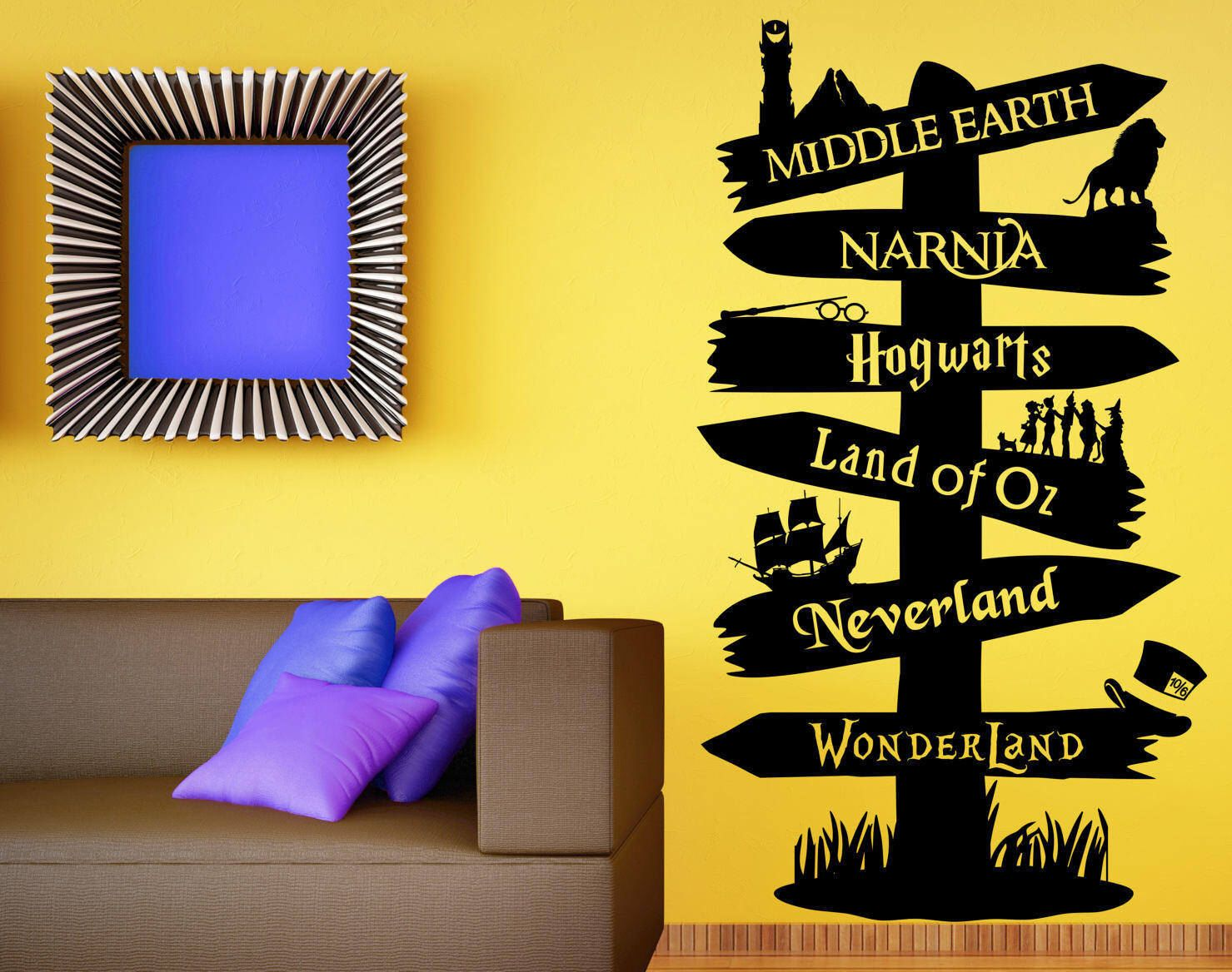 Storybook signpost wall decal custom wall decal fandom wall storybook signpost wall decal custom wall decal fandom wall sticker harry potter lord of the rings amipublicfo Choice Image