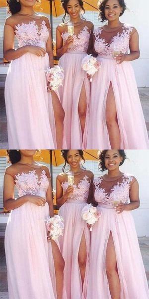 Cheap Lace Applique Pink Chiffon Slit Long Bridesmaid Dress,Cheap Bridesmaid Dresses,WGY0202 Cheap Lace Applique Pink Chiffon Slit Long Bridesmaid Dress,Cheap Bridesmaid Dresses,WGY0202 #lacebridesmaids