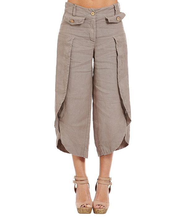 Look at this Couleur Lin Taupe Tulip-Hem Linen Crop Pants on #zulily ...