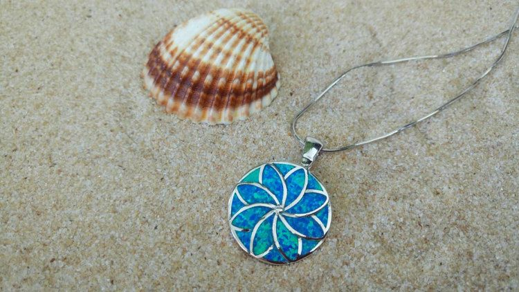 Blue opal silver flower pendant flower pendant by ThetisTreasures