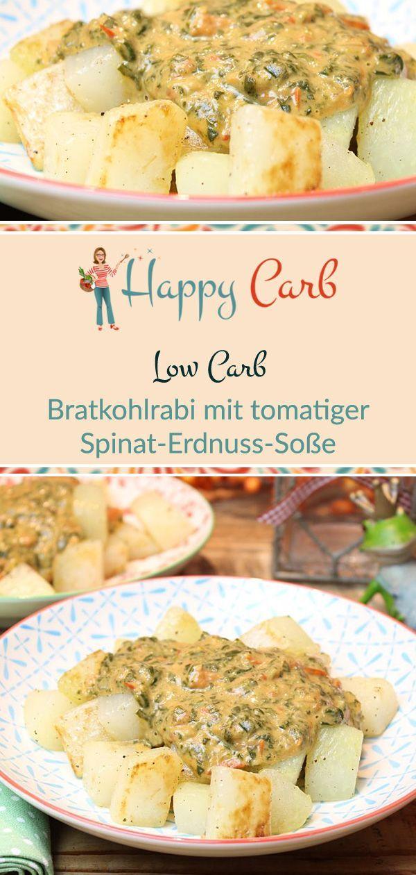Bratkohlrabi mit tomatiger Spinat-Erdnuss-Soße - Happy Carb Rezepte
