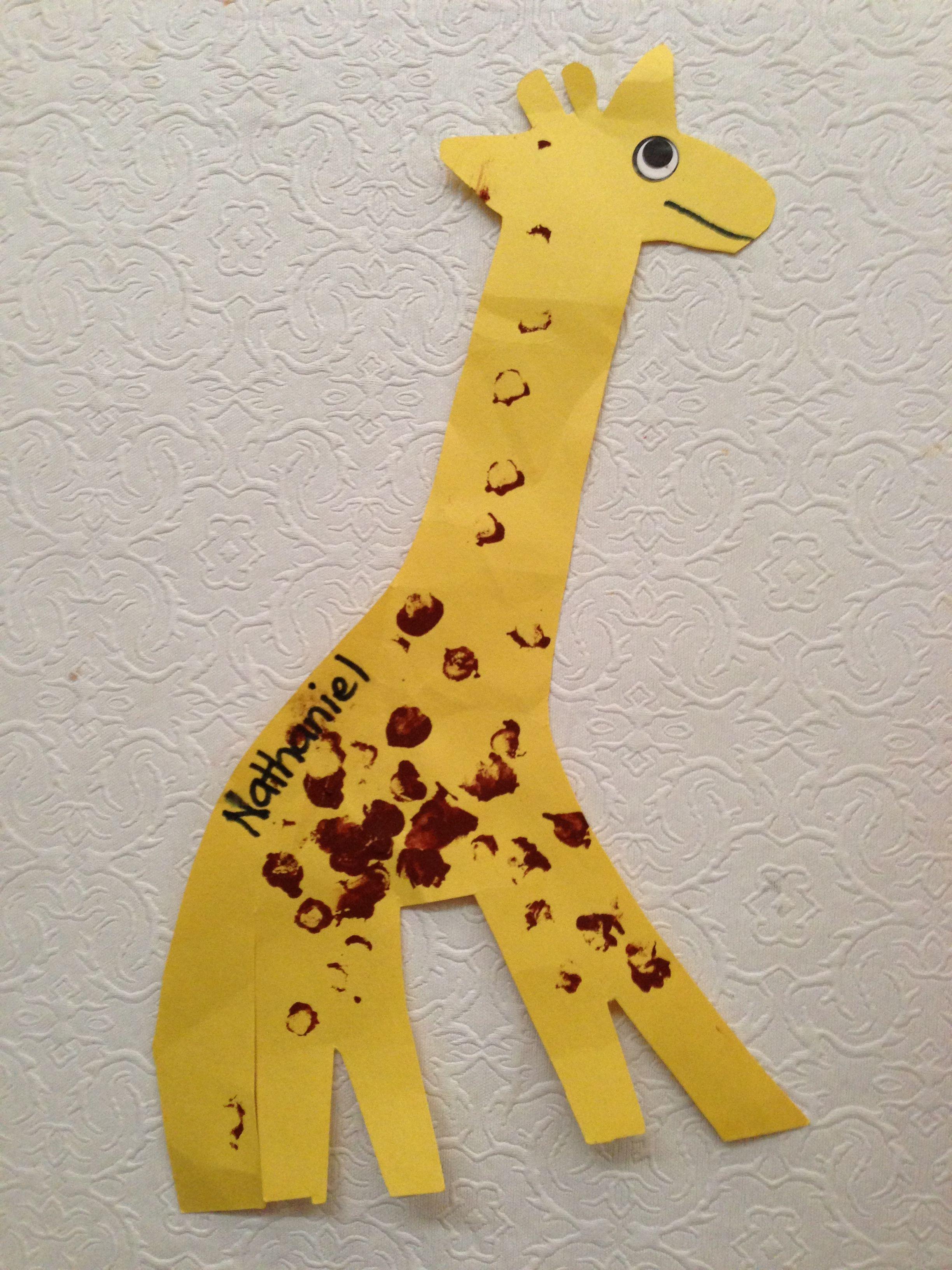 Preschool Craft Finger Paint Spots On The Giraffe