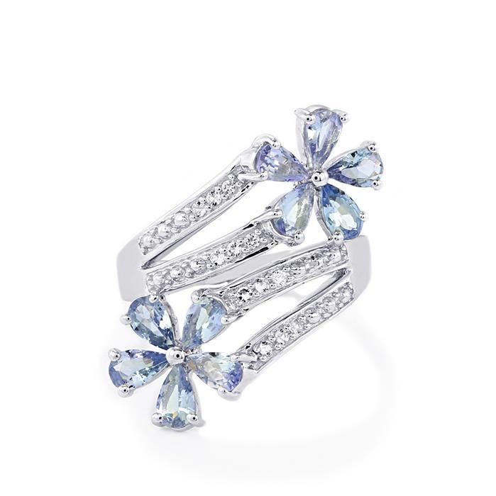 8adffded1fab2 Tanzanite Diamonds Flowers Ring In 18K White Gold - http   www.tanaryjewelry