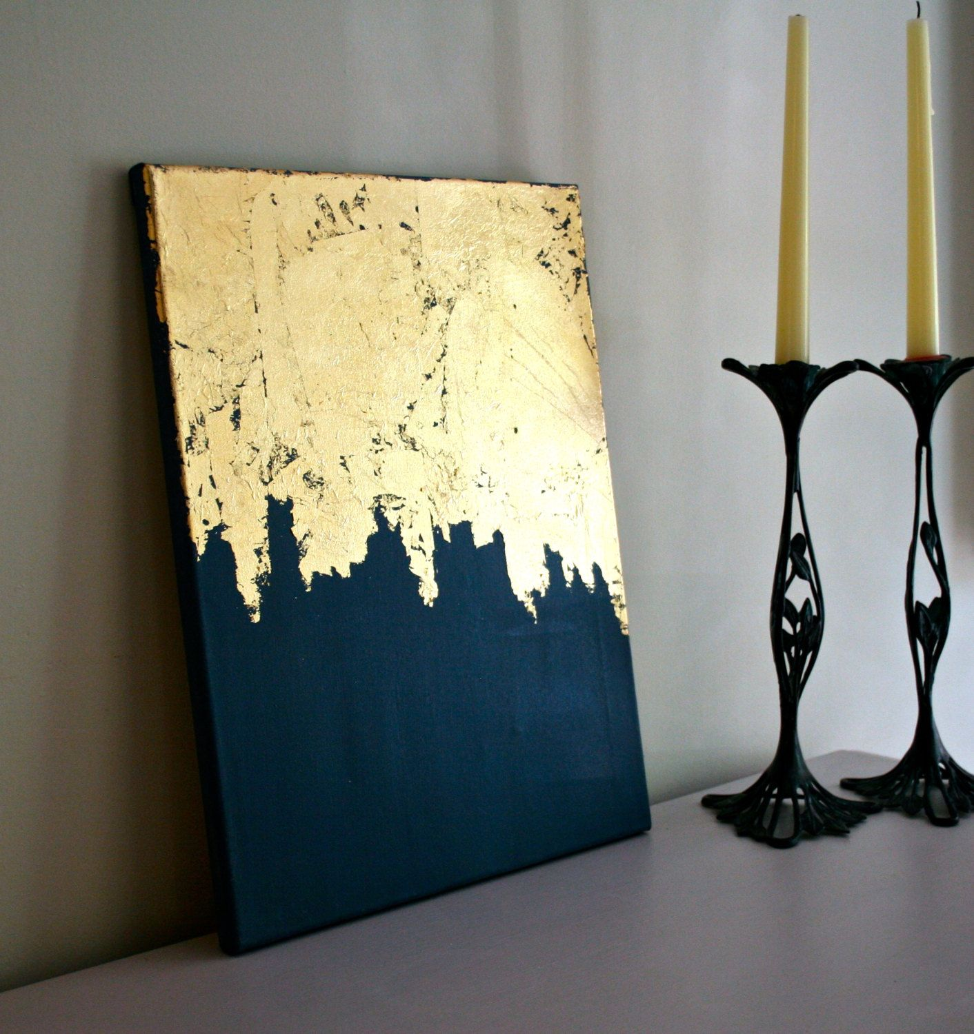 Midnight Gold  Gold Leaf Painting  Modern Art  Acrylic