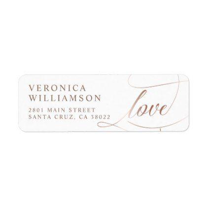 Elegant Rose Gold Foil Love Script Wedding Label - gold wedding