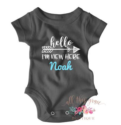 3f7d2dce8 Hi Im New Here Going Home Outfit Baby Boy Clothes Hello