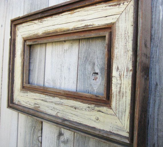 Rustic Antique Ivory Reclaimed Wood Frame. Empty Wood Frame. Rustic ...