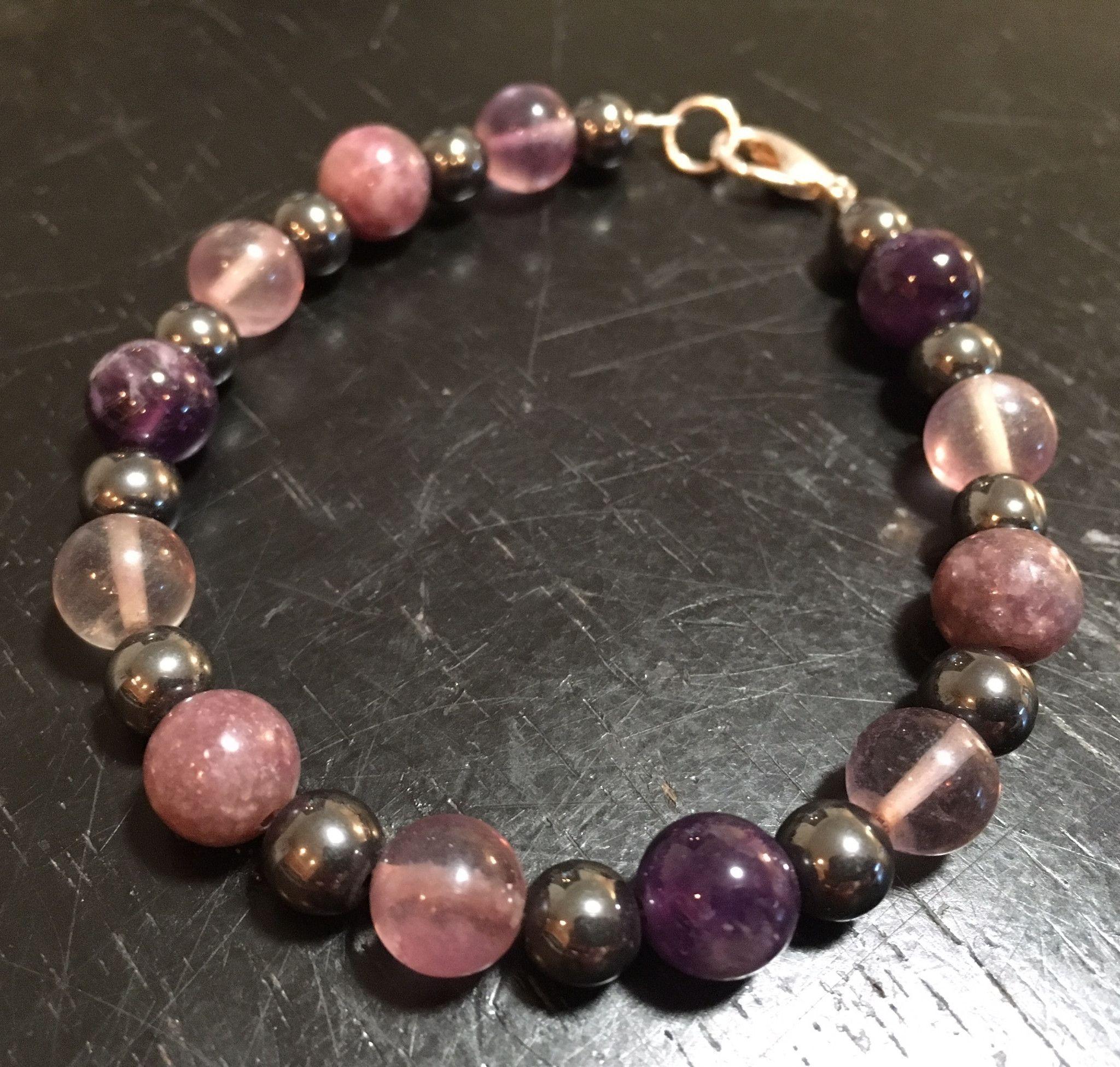 cec08537690c96 ADHD crystal bracelet (Lepidolite, Fluorite, Amethyst, & Hematite) - New  Moon Beginnings - 3